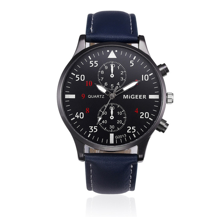 Men Watches Military Business Watches Luxury  Leather Band Alloy Quartz Wrist Watches blue one size
