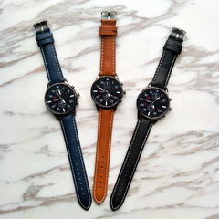 Men Watches Military Business Watches Luxury  Leather Band Alloy Quartz Wrist Watches black one size