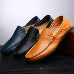 Men Shoes leather Comfortable Men Casual Shoes sport Footwear Flats For Men Slip On Lazy Shoes brown 39