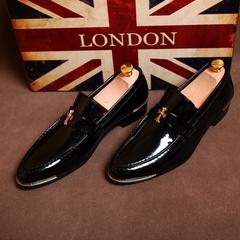 Classic men's dress shoes leather shoes leather texture shine business shoes wedding flat shoes black 38 artificial pu