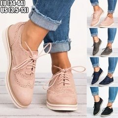 Women  Perforated Oxfords Shoes British Style Casual Shoes Breathable Increase Comfortable Shoes black 35