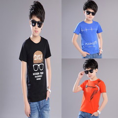 summer new style, boy, round neck, short sleeves, casual cotton, multi-color, large size, T-shirt black 140 cotton