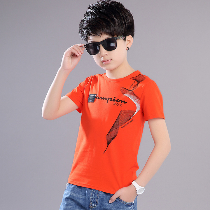 summer new style, boy, round neck, short sleeves, casual cotton, multi-color, large size, T-shirt red 110 cotton