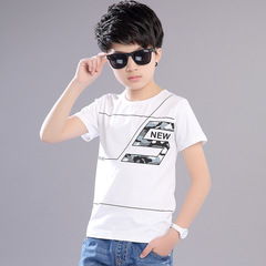summer new style, boy, round neck, short sleeves, casual cotton, multi-color, large size, T-shirt white 150 cotton