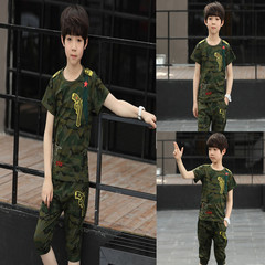 2019, new, boy, cartoon round neck, short sleeve, camouflage, set of 2 tarmac 100 cotton