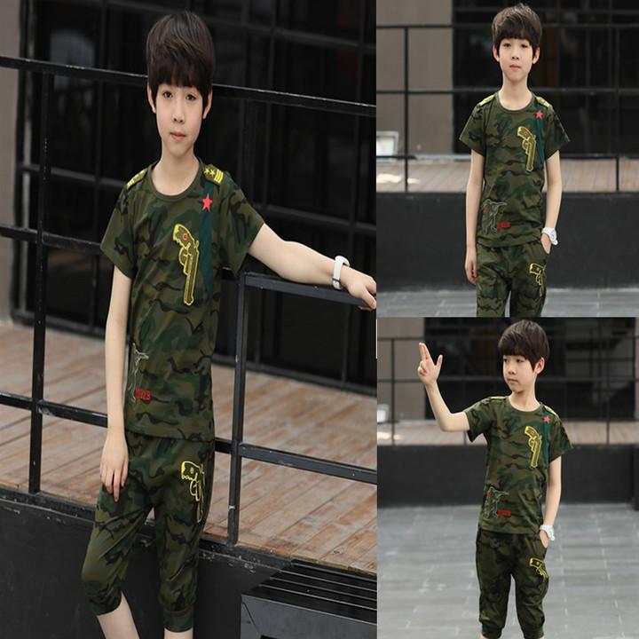 2019, new, boy, cartoon round neck, short sleeve, camouflage, set of 2 tarmac 100 cotton