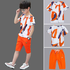 Little boy summer dress children's sports short-sleeved two-piece 2019 boys new fashion clothing Orange 140 cotton