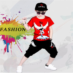 2019 boys new print people figure wings short-sleeved clothes in the big boy summer two-piece red 110 cotton