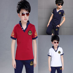 Children's wear 2019 summer new boy fashion solid color V-neck cotton two-piece red 120 cotton