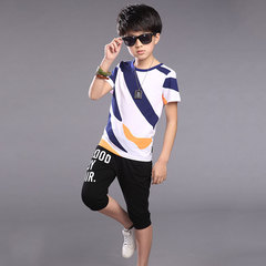 Boys summer dress 2019 new sportswear big boy summer short sleeve two-piece white 6T cotton