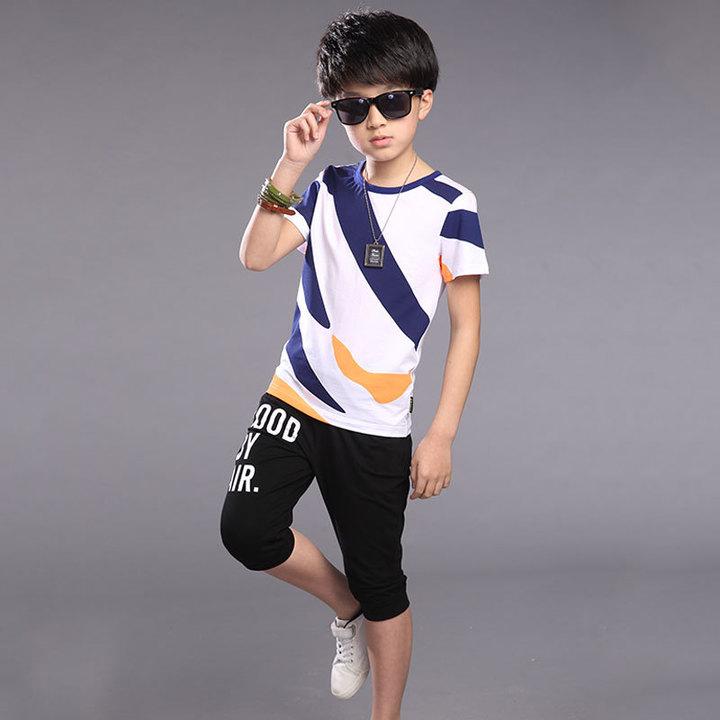 Boys summer dress 2019 new sportswear big boy summer short sleeve two-piece white 4T cotton