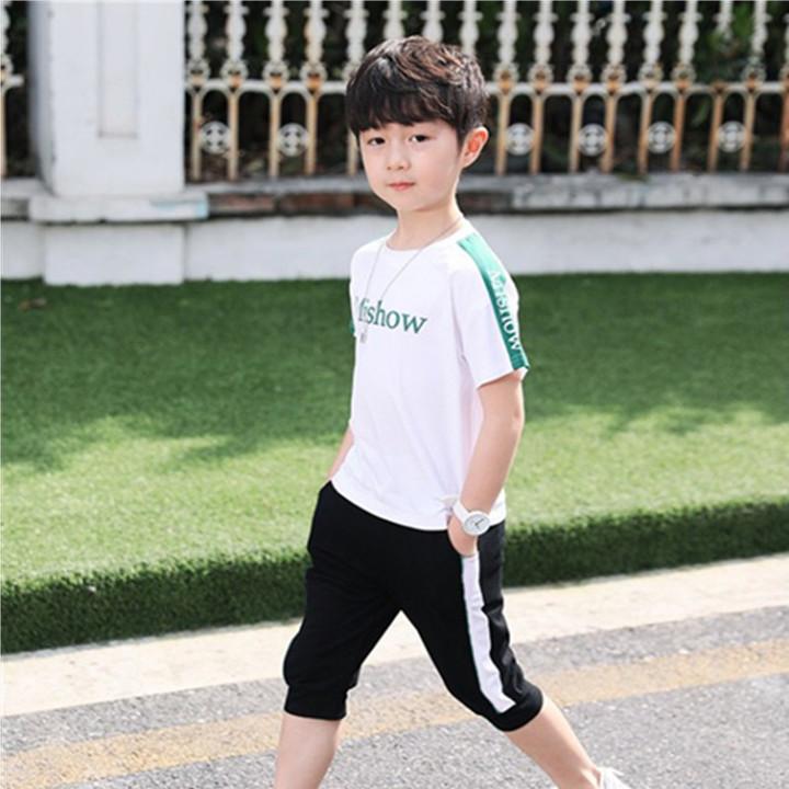 2019 boys round neck short sleeve cartoon print sports two-piece polo shirt white 5t cotton