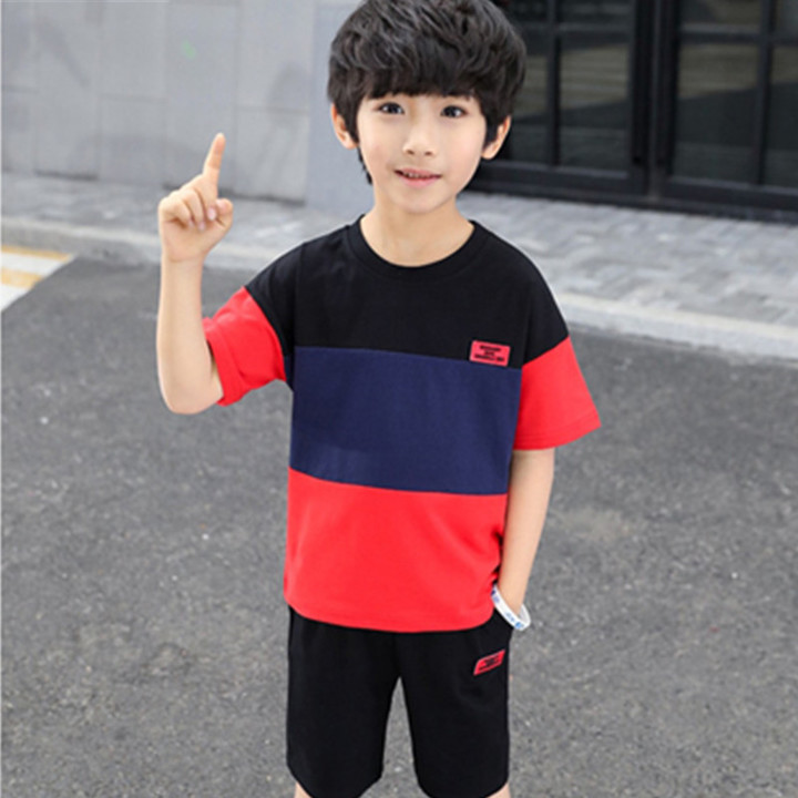 2019 boys summer new color matching sleeve short sleeve fashion extraordinary two-piece red 3T cotton