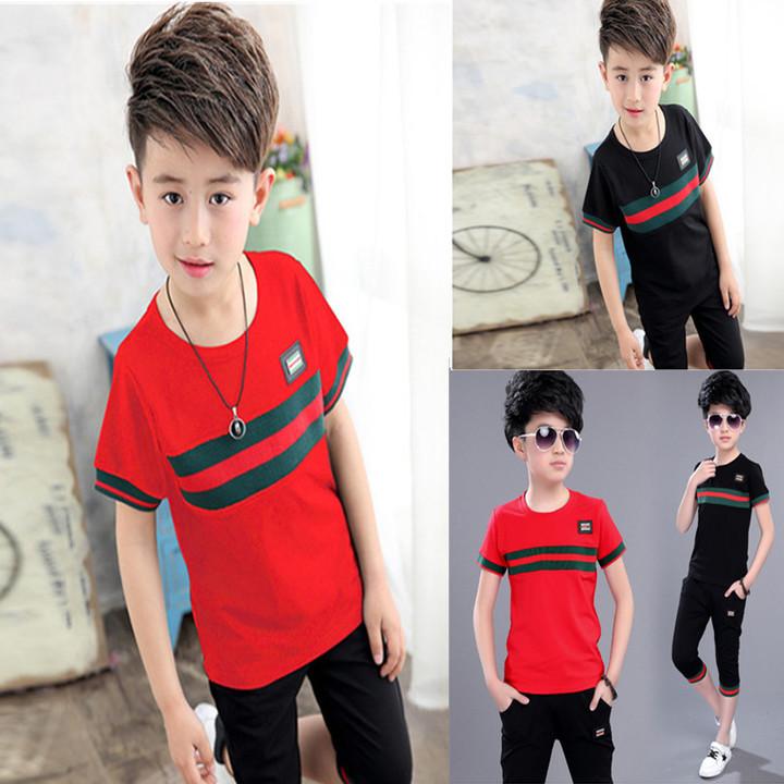 2019 new boy's head round neck short sleeve children's T-shirt suit red 6T cotton