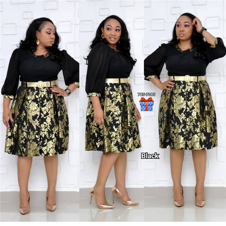 White-collar lady small floral gilded chiffon waist A-line skirt gold belt dress L Black,