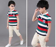 2019 boys summer new style round neck short sleeve sports fashion stripe two-piece set 4T-14T red 4t cotton