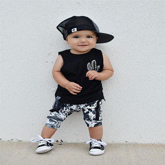 2PC newborn round neck comfortable and breathable two-piece black 70cm cotton