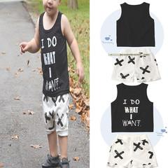 Children's pajamas suit summer boys cotton home service vest + shorts children's wear black 12m  80 cotton