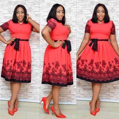 2019 ladies summer new round neck short-sleeved waist pocket hip print belt ladies dress l red
