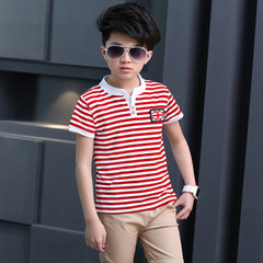 2019 summer new boy round neck short sleeve striped sports two-piece red 3t cotton