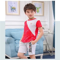 2019 summer new boy round neck cotton short sleeve casual sports two-piece suit red 3t cotton