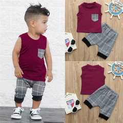 Boys summer new sleeveless pullover round neck vest plaid shorts sports two-piece red 6M cotton