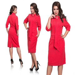 Ladies new stand collar high waist sleeves pockets hip office ladies pencil skirt 5xl ladies dress red xl