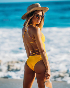 High waist of new knitted plain-color sexy swimsuit2019 yellow L