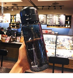 Large Capacity Water Cup Plastic Water Bottle Outdoor Sports and Leakage-proof Cup in Summer black
