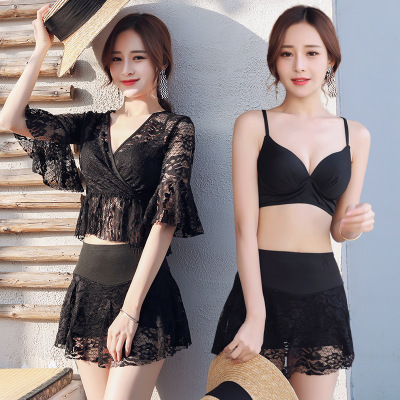 Hot Spring Swimming Suit Separated Skirt Style Flat Angle Three-piece Sexy Steel Holding Student black m