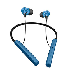 New neck-hung sport Bluetooth headset mobile phone magnetic neck-hung wireless bilateral stereo blue one size