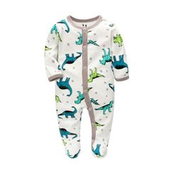 Category A cotton full-length crawling crotch Dinosaur S