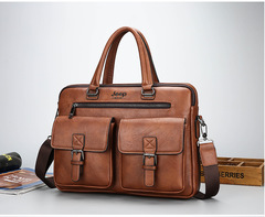 Men's Bag Jeep Counter Genuine New Single Shoulder Handbag Leisure Fashion Business Bag Light brown one size