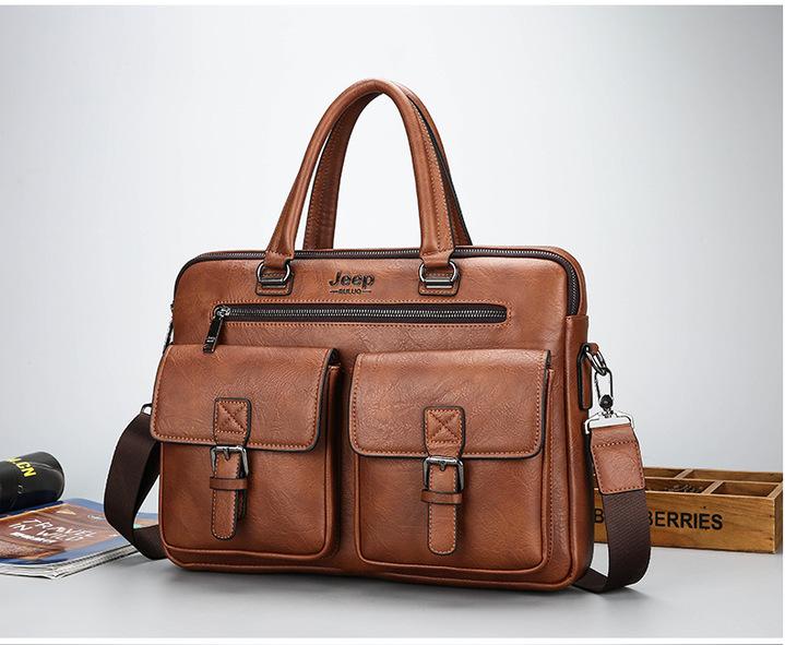 Men's Bag Jeep Counter Genuine New Single Shoulder Handbag Leisure Fashion Business Bag Light brown one size