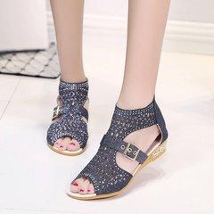 Summer  Women' Shoes High-Up Fish-Mouth Hollow   Back Zipper Slope heel Water Drill Roman Shoes golden 36