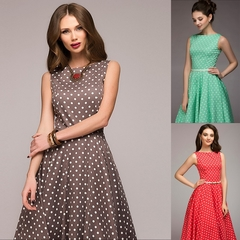 Full-blown European and American Women's  Dresses Retro Wave Point Sleeveless Dresses s red