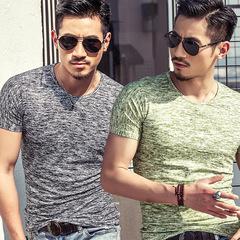 Summer New Short-sleeved  Men's Cotton Round-collar Short-sleeved T-shirt Black M one