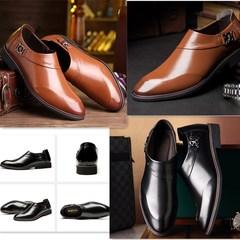 men's business dress shoes  Fu shoesmen's shoes  black  leather black 38 one