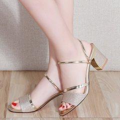 Summer sandals  with medium heels golden 38
