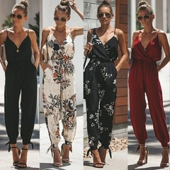 Women's Sleeveless Jumpsuit Lady V Nec Backless Drawstring Leggings with Pockets vestidos s black