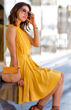 European Station Summer New Star Pure Pleated Skirt yellow m