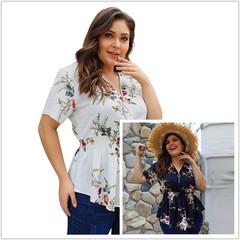 Summer Blouse Printing Shirt Women Ladies Office Blouses Fashion V-Neck Big Size Blusas white xl white xl