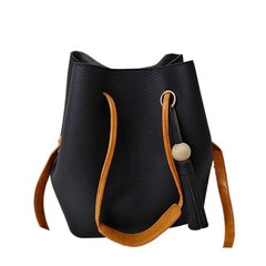 Toofn Handbag Tassel Single Shoulder Bag,Bucket Bag Black