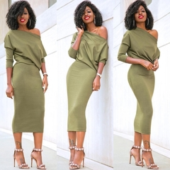 Long Sleeve Midi Dress Womens Autumn Winter Dresses Sexy Party Solid Off The Shoulder Dress XL Green s green