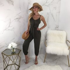 2019 shoulder strap V-neck belt slim slimming jumpsuit women's pants s black