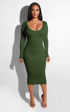 Dress Women Long Sleeve Dress Sexy Slim Bod Dress Pencil Package Hips Spandex Dress xl amy green S red