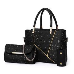 female steamed stuffed bun mother bag three-piece simple handbag fashion single-shoulder bag black thy only