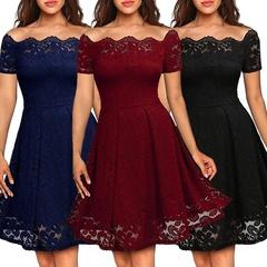 Ladies Fashion Sexy Strapless Short Sleeve Lace Dress s black
