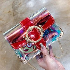 2019 New Transparent Chain Hand-held Cosmetic Bag Waterproof Slant Single Shoulder Bag red thy only