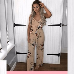 Strap Floral Printed Backless Jumpsuit Sexy Sleeveless Rompers s white